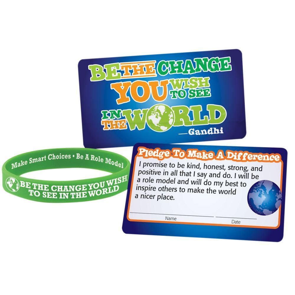 Be The Change You Wish To See In The World 2-Sided Silicone Bracelet With Pledge Card - Pack of 25