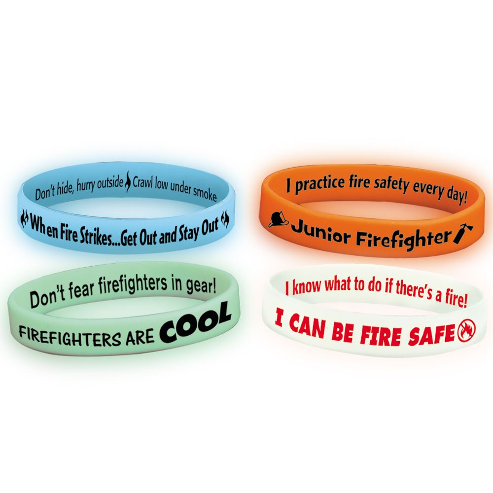 Fire Safety Glow Silicone Bracelet Assortment Pack
