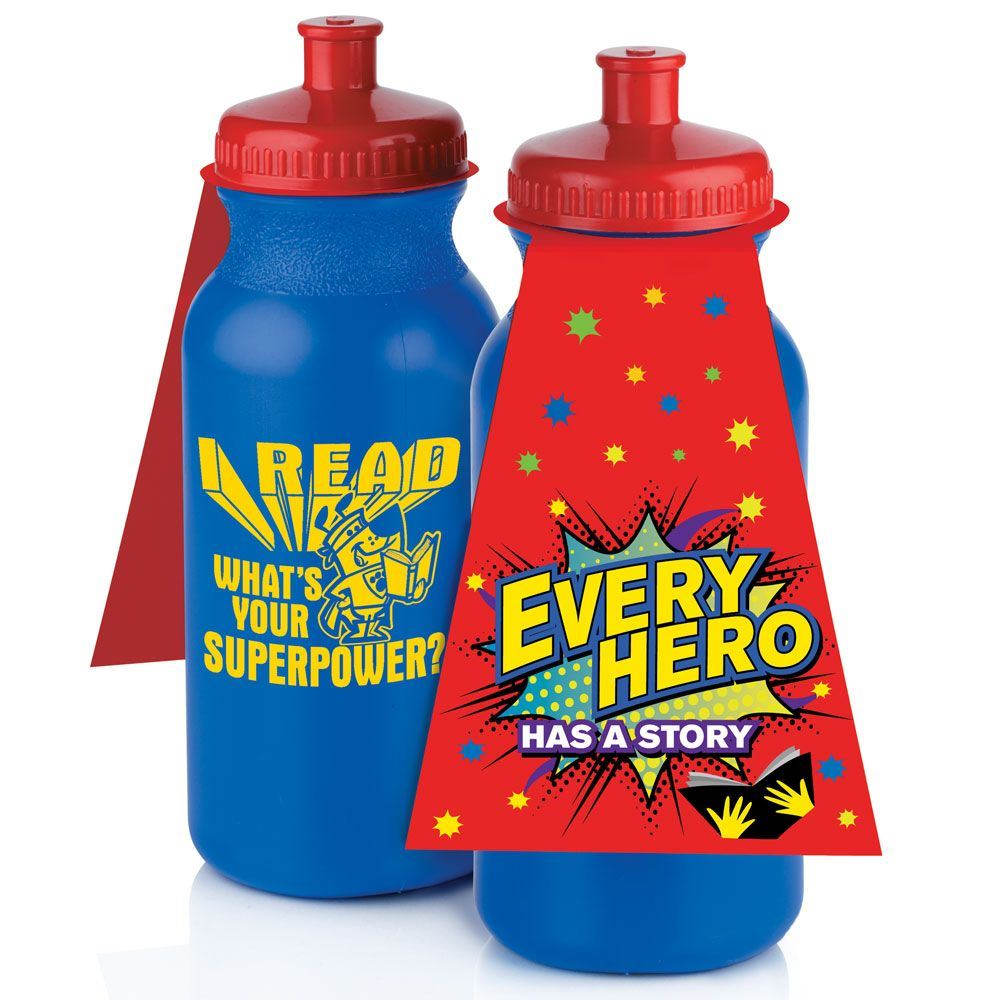 I Read, What's Your Superpower? 20-oz. Water Bottle With Cape