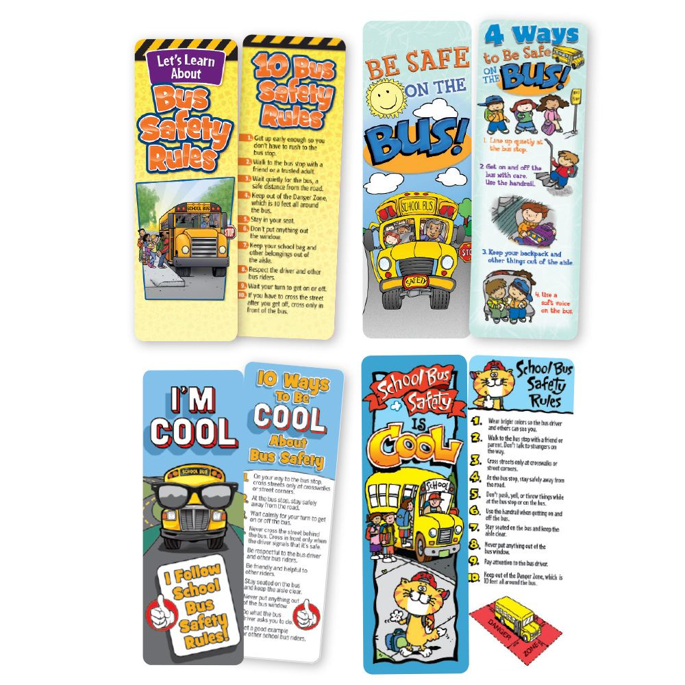 School Bus Safety Themed Bookmark 100-Piece Assortment Pack