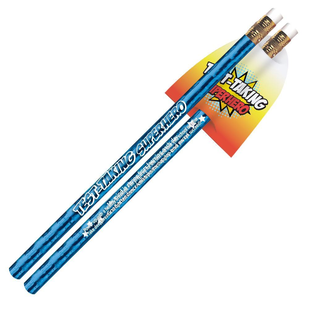 Test-Taking Superhero Sparkle Foil Pencils With Capes - Pack of 25