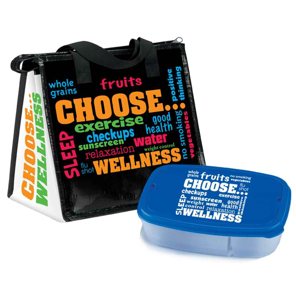 Choose Wellness Insulated Lunch Bag & 2-Section Food Container Gift Combo