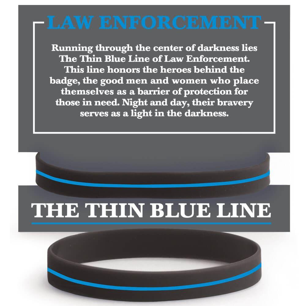 Law Enforcement The Thin Blue Line Silicone Bracelet With Presentation Card