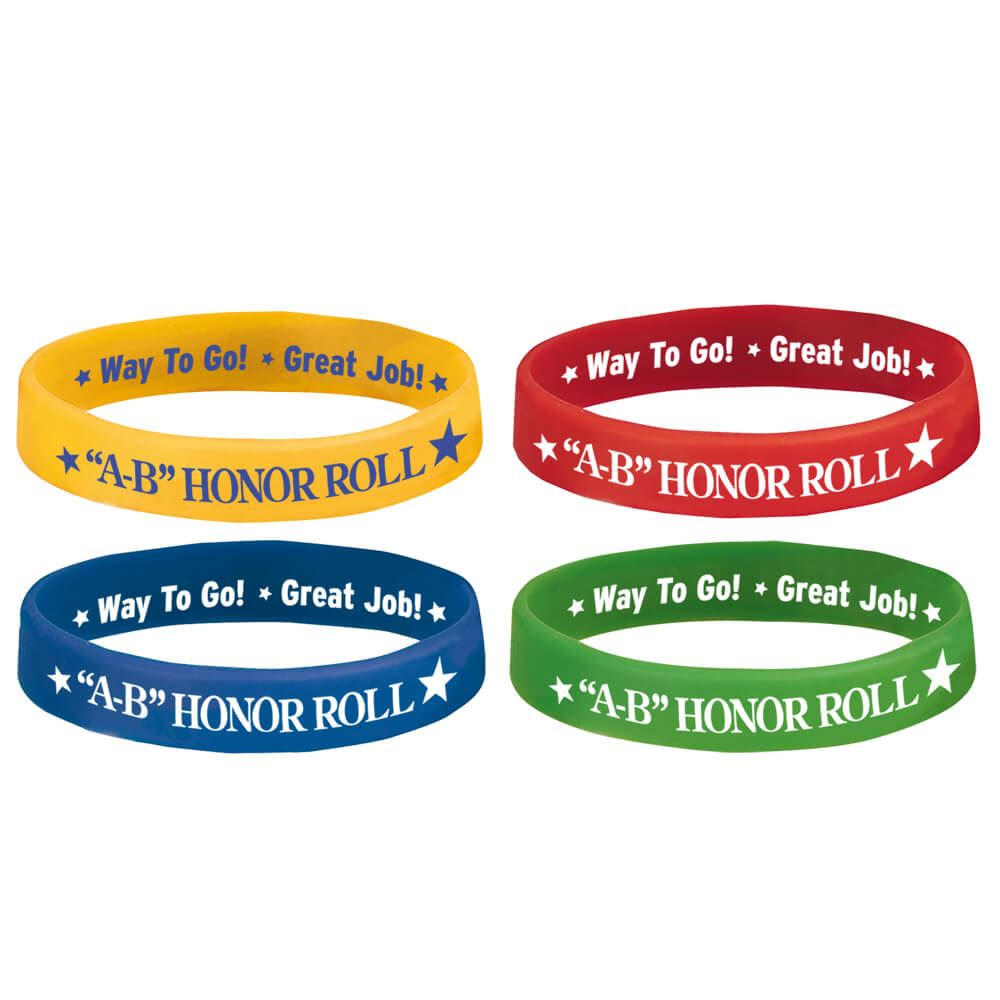 A b honor roll 2 sided silicone bracelet 40 piece assortment pack a b honor roll 2 sided silicone bracelet 40 piece assortment pack alramifo Choice Image