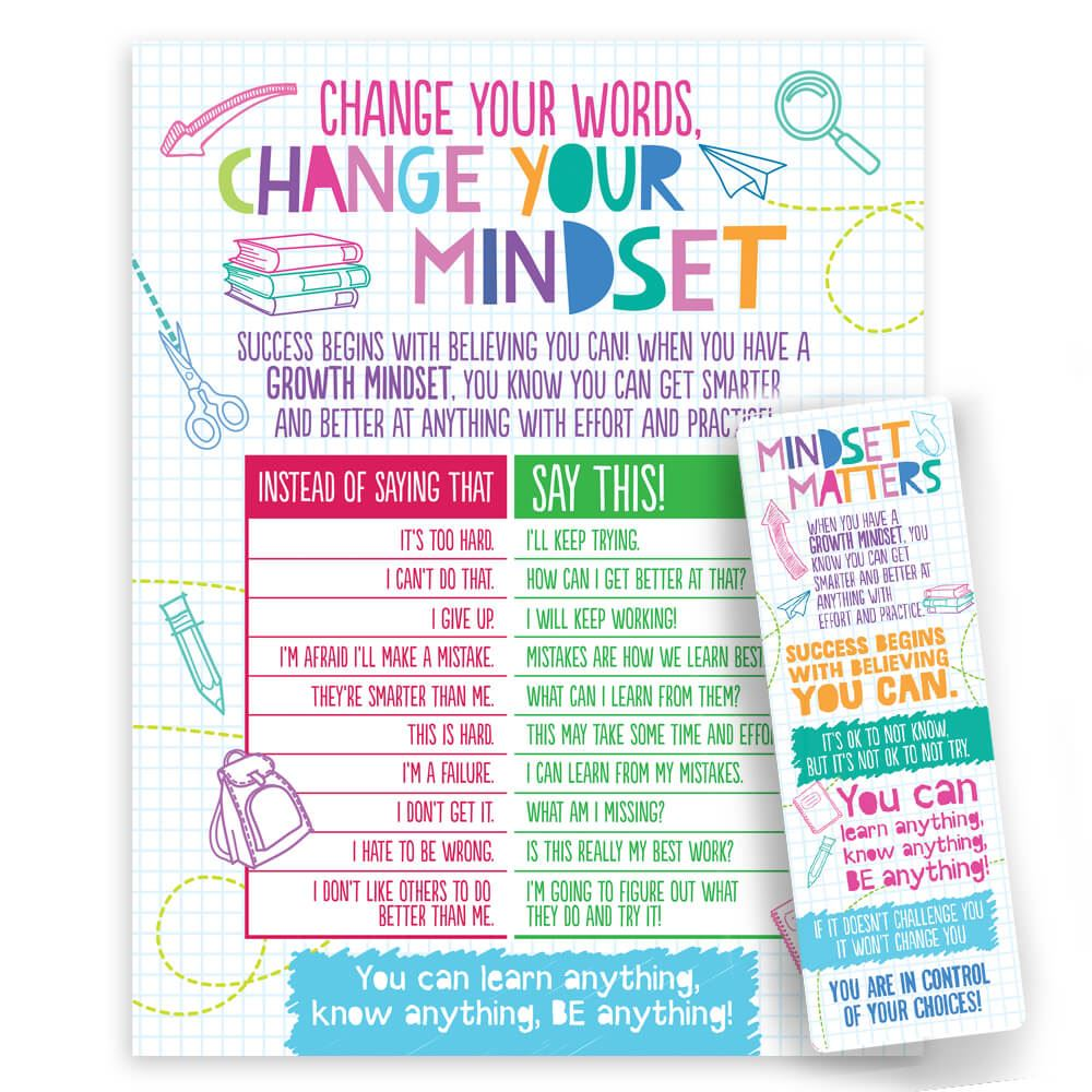 Growth Mindset Bookmark/Poster Set