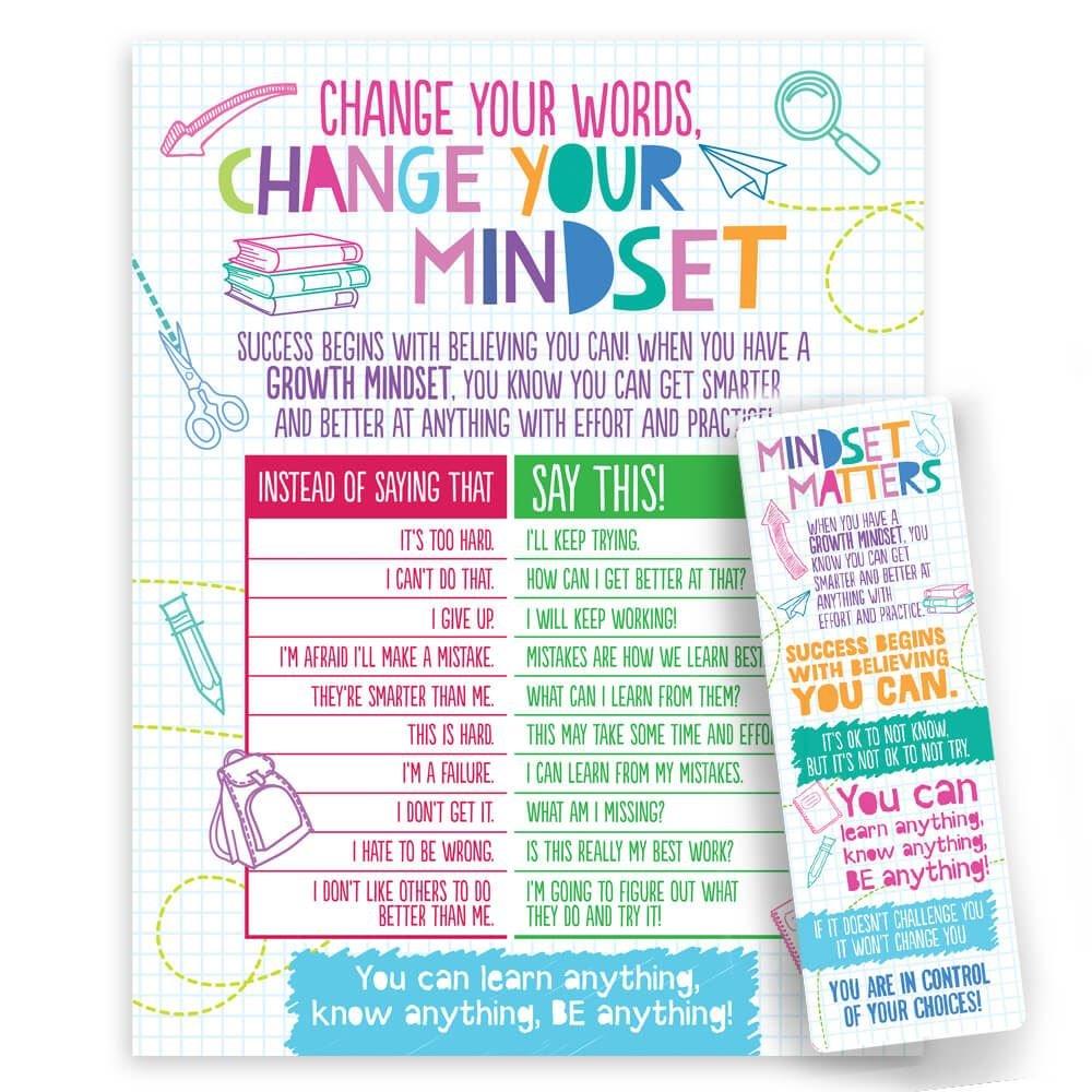 Growth Mindset Bookmark/Poster Set