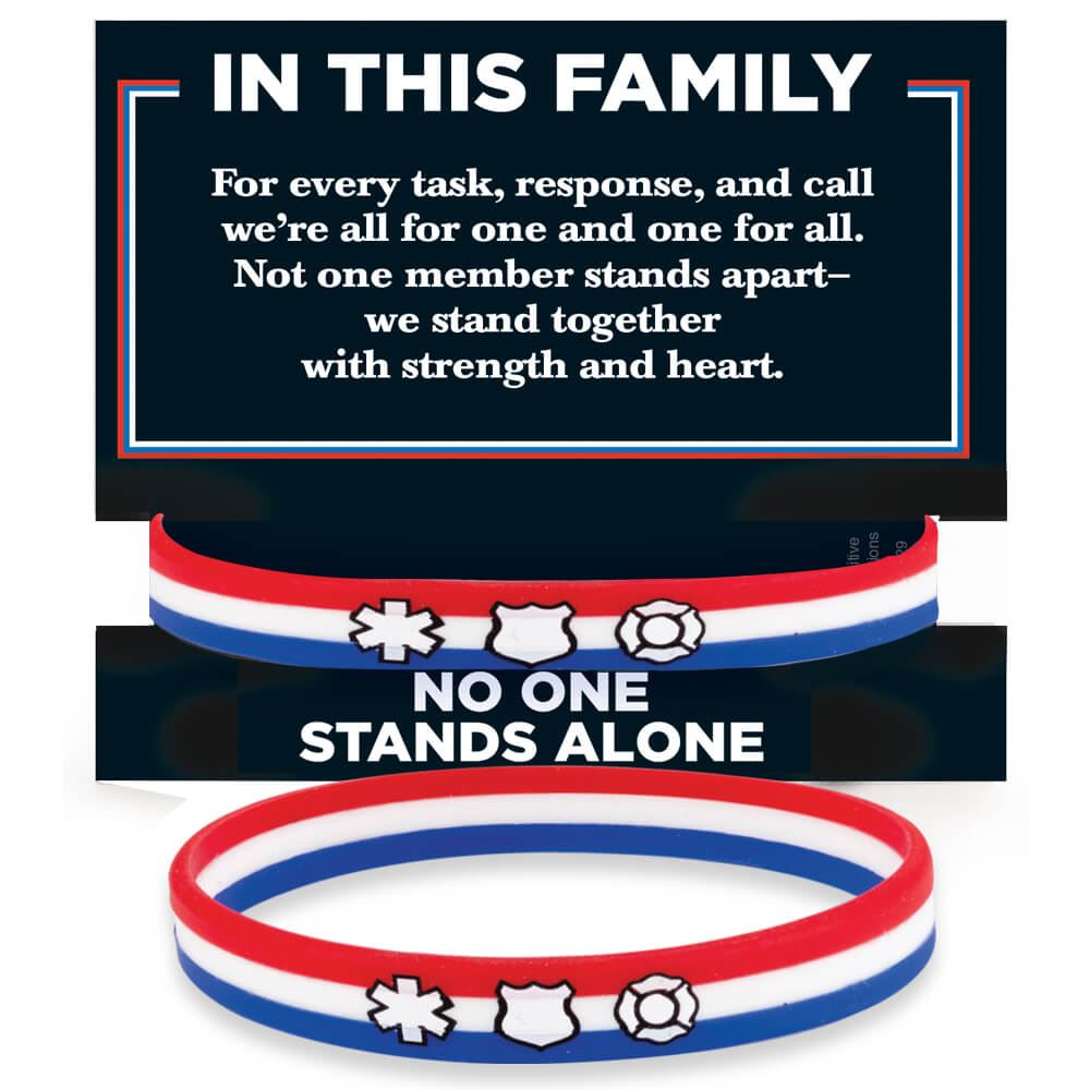 In This Family No One Stands Alone Silicone Bracelet With Presentation Card - 10 Per Pack