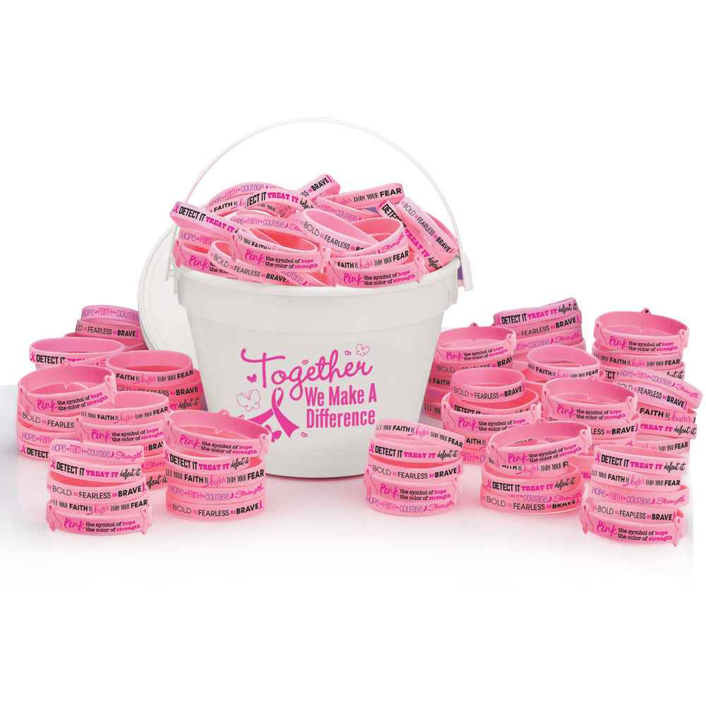 Breast Cancer Awareness 100-Piece Silicone Bracelet Fundraising Kit