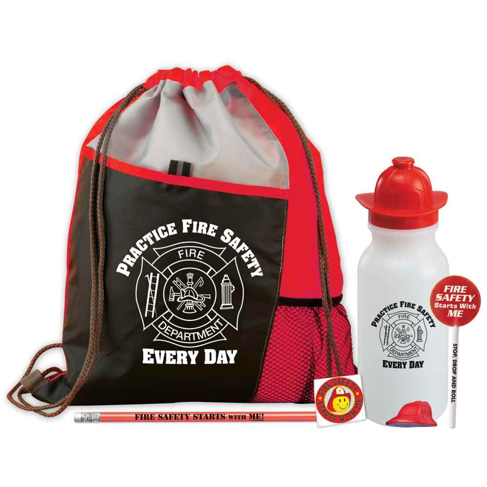 Practice Fire Safety Every Day Deluxe Drawstring Backpack With Water Bottle Value Kit