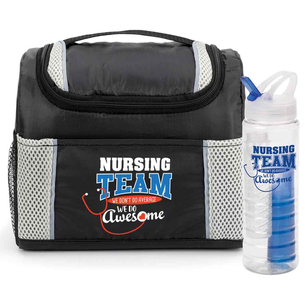 Nursing Team: We Don't Do Average, We Do Awesome Bayville Lunch/Cooler Bag & Essential 3-in-1 Water Bottle Gift Combo