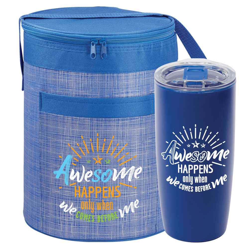 Awesome Happens Only When We Comes Before Me Brookville Barrel Cooler Bag & Sierra Tumbler Gift Combo
