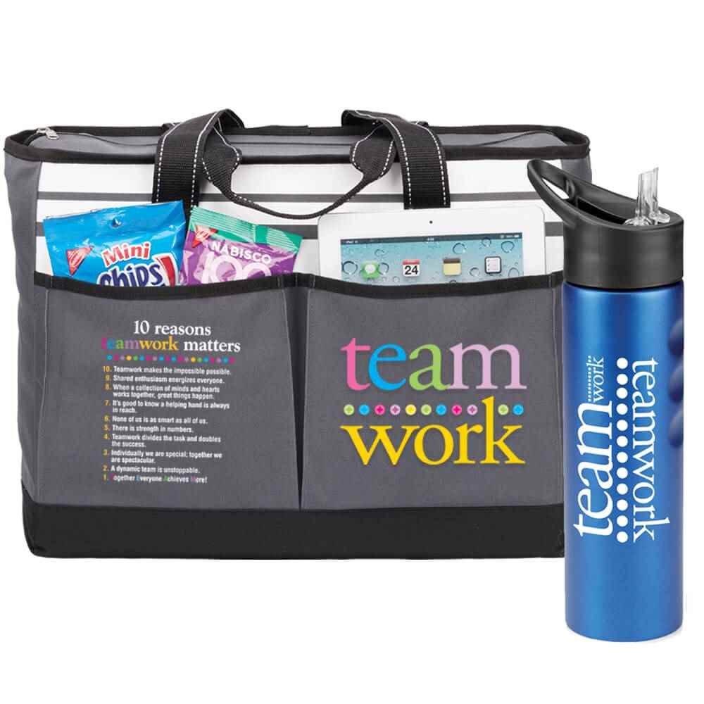 Teamwork Traveler Tote & Essex Water Bottle Combo