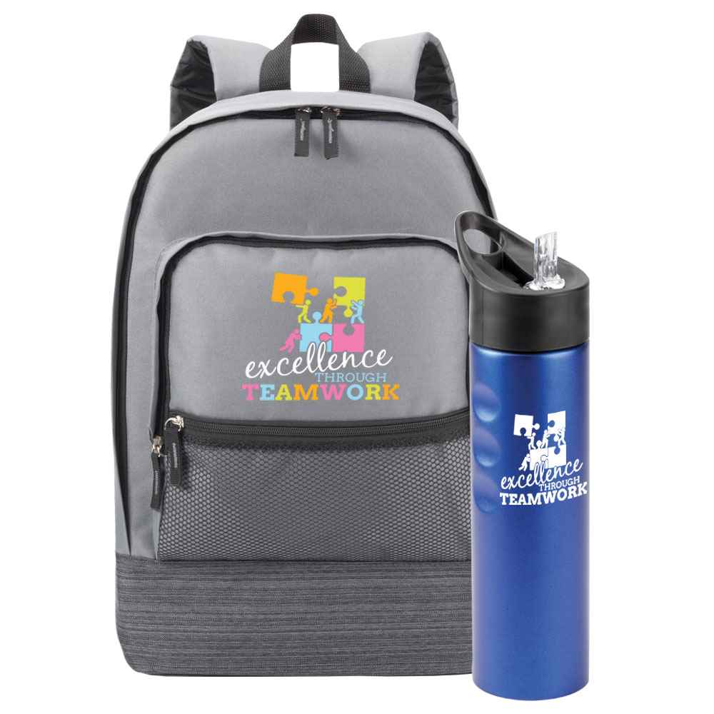 Excellence Through Teamwork Manchester Backpack & Essex Water Bottle Combo