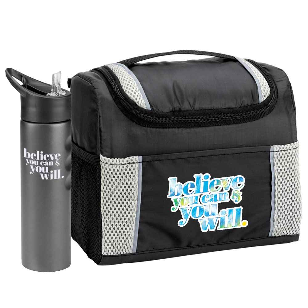 Believe You Can & You Will Bayville Lunch/Cooler Bag & Essex Water Bottle Combo