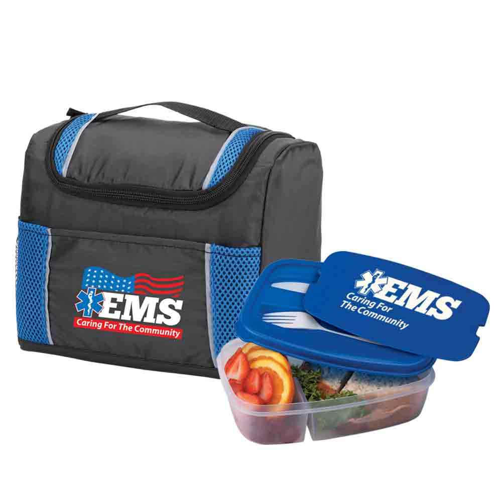EMS: Caring For The Community Bayville Lunch/Cooler Bag & 2-Section Food Container With Utensils Combo