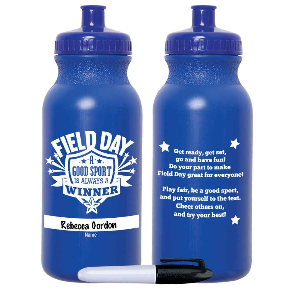 Field Day: A Good Sport Is Always A Winner Royal Blue Water Bottle 20-Oz. With Permanent Marker - Pack of 10