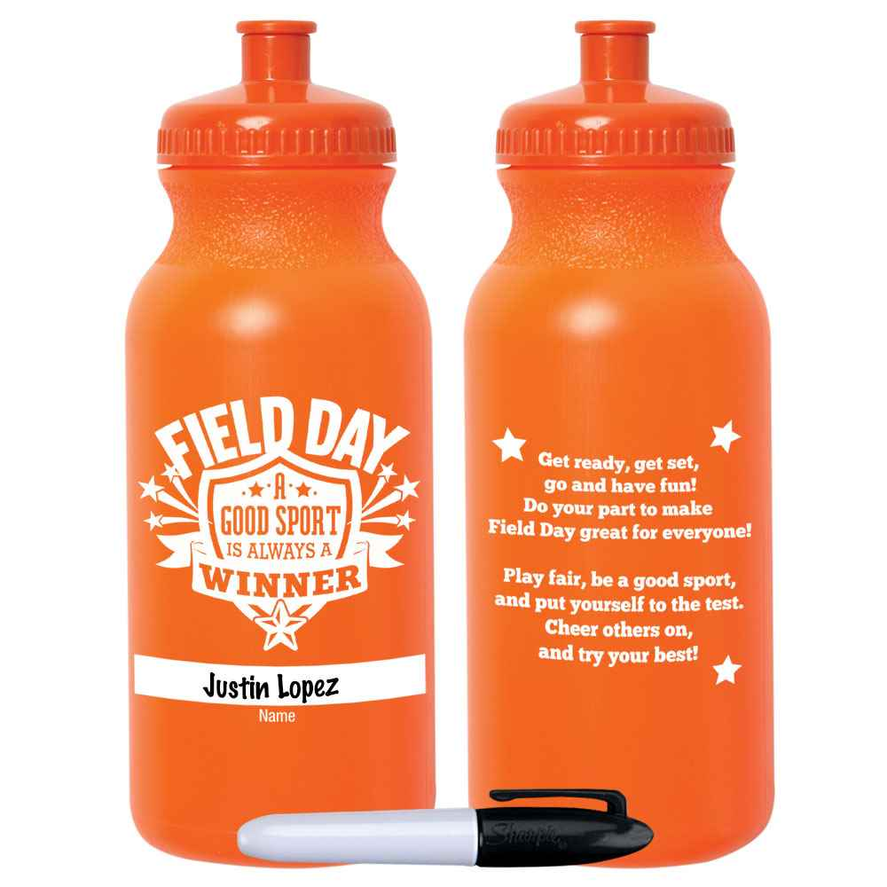 Field Day: A Good Sport Is Always A Winner Orange Water Bottle 20-Oz. With Permanent Marker - Pack of 10