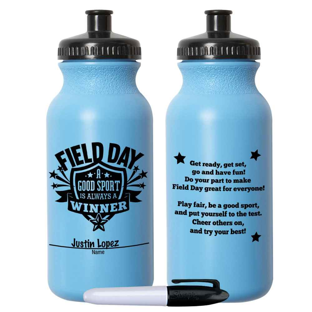 Field Day: A Good Sport Is Always A Winner Light Blue Water Bottle 20-Oz. With Permanent Marker - Pack of 10
