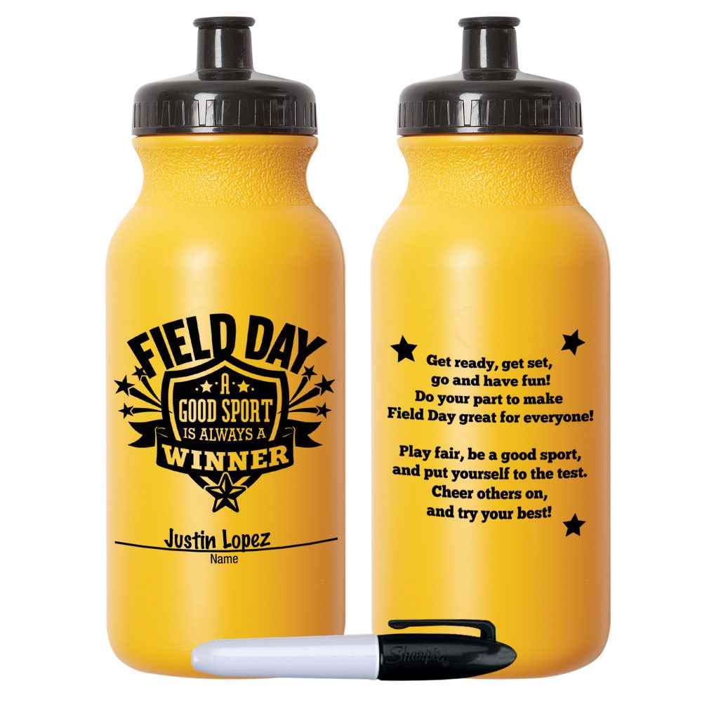Field Day: A Good Sport Is Always A Winner Yellow Water Bottle 20-Oz. With Permanent Marker - Pack of 10