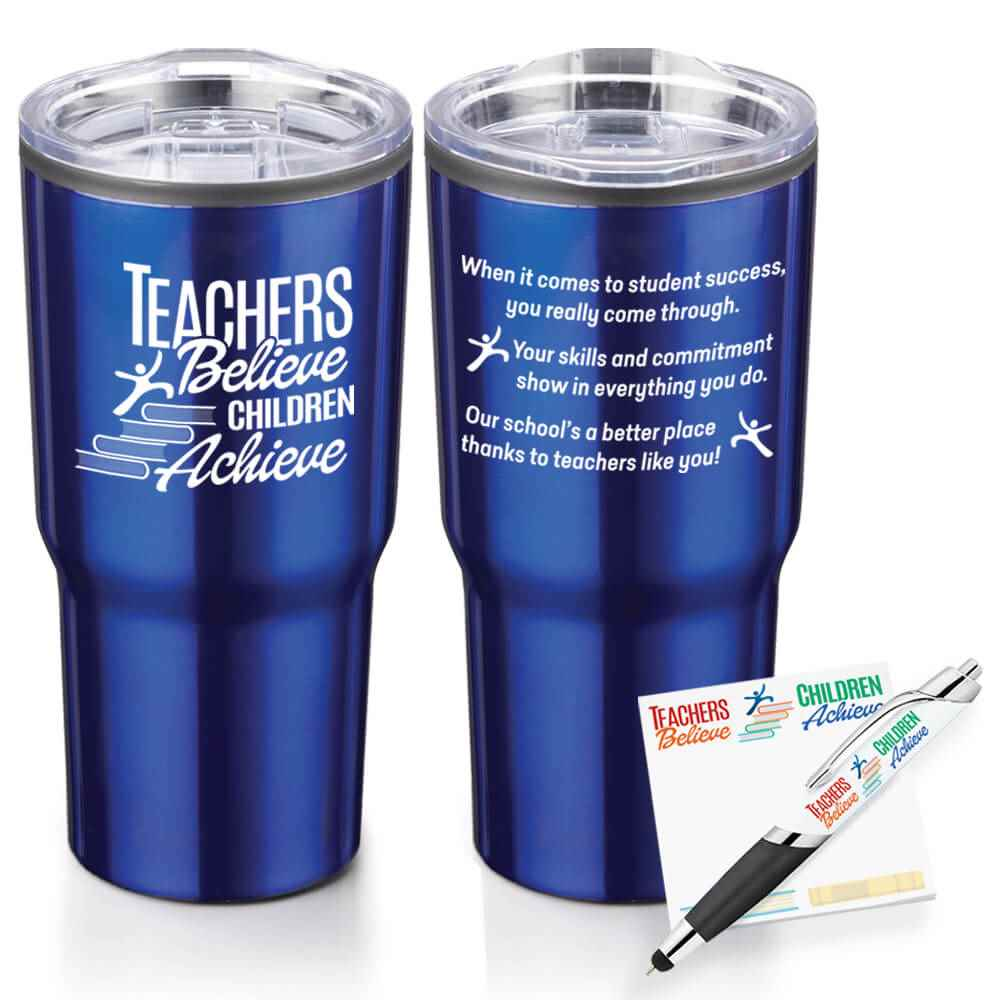 Teachers Believe, Children Achieve Tumbler, Sticky Pad & Pen Combo Set