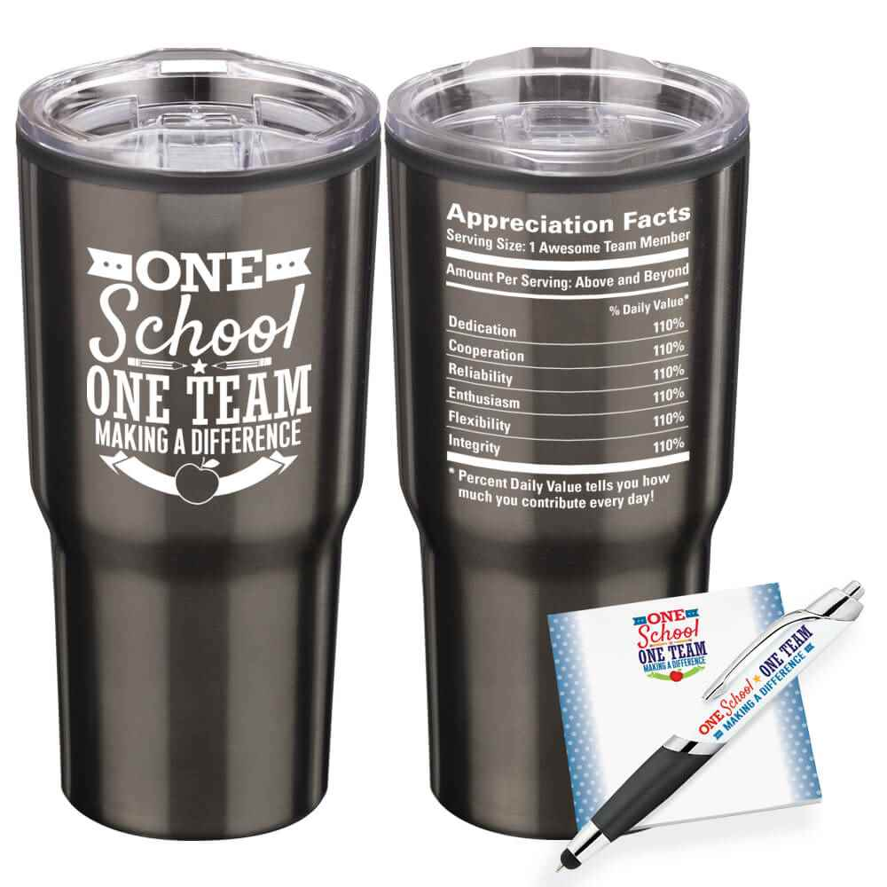 One School, One Team: Making A Difference Tumbler, Sticky Pad & Pen Combo Set