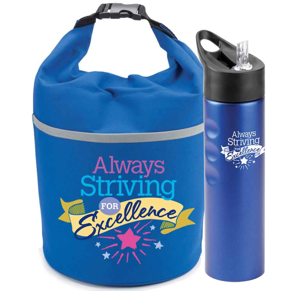 Always Striving For Excellence Essex Stainless Steel Water Bottle & Bellmore Cooler Lunch Bag Gift Combo