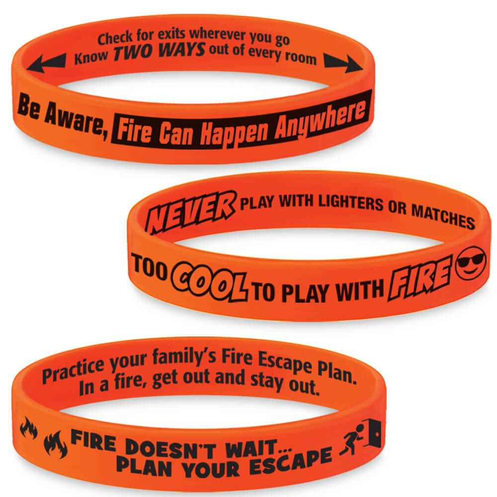 Fire Safety Mood-Changing Silicone Bracelet Assortment Pack - 75 Per Pack