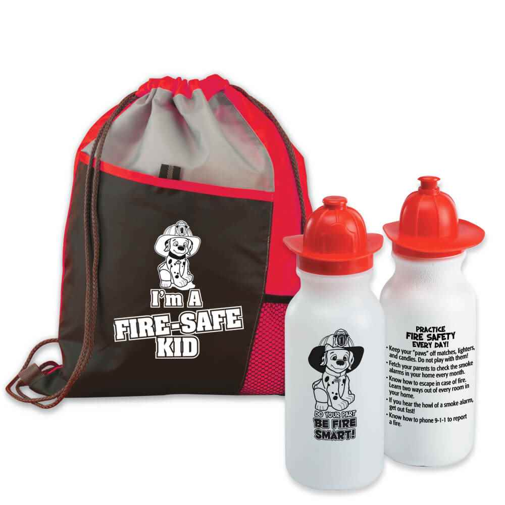 I'm A Fire-Safe Kid Deluxe Drawstring Backpack With Fire Helmet Water Bottle Combo