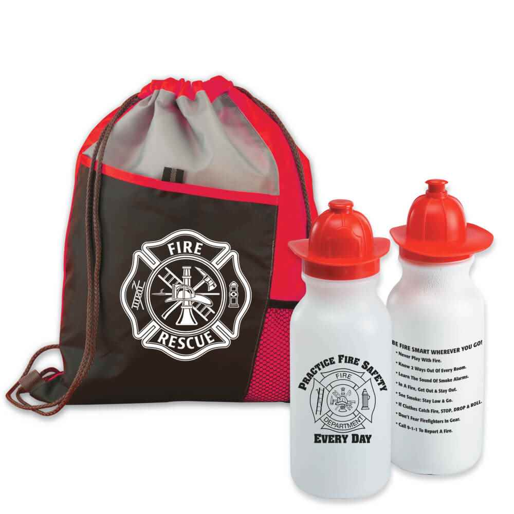 Maltese Cross Deluxe Drawstring Backpack With Practice Fire Safety Every Day Water Bottle Combo