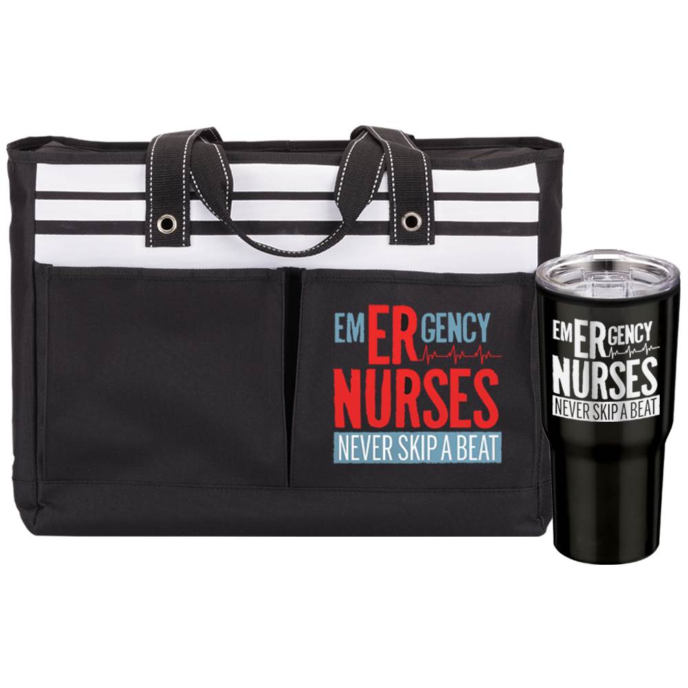 Emergency Nurses Never Skip A Beat Traveler Two-Pocket Tote & Timber Tumbler Gift Combo