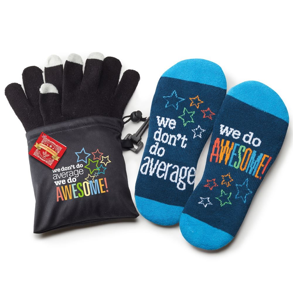 We Don't Do Average, We Do Awesome! Touchscreen Gloves & Socks Gift Set with Holiday Gift Card and Wrap