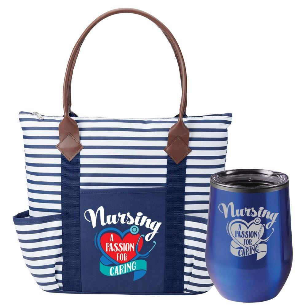 Nursing A Passion For Caring Nantucket Tote & Riviera Tumbler Gift Set