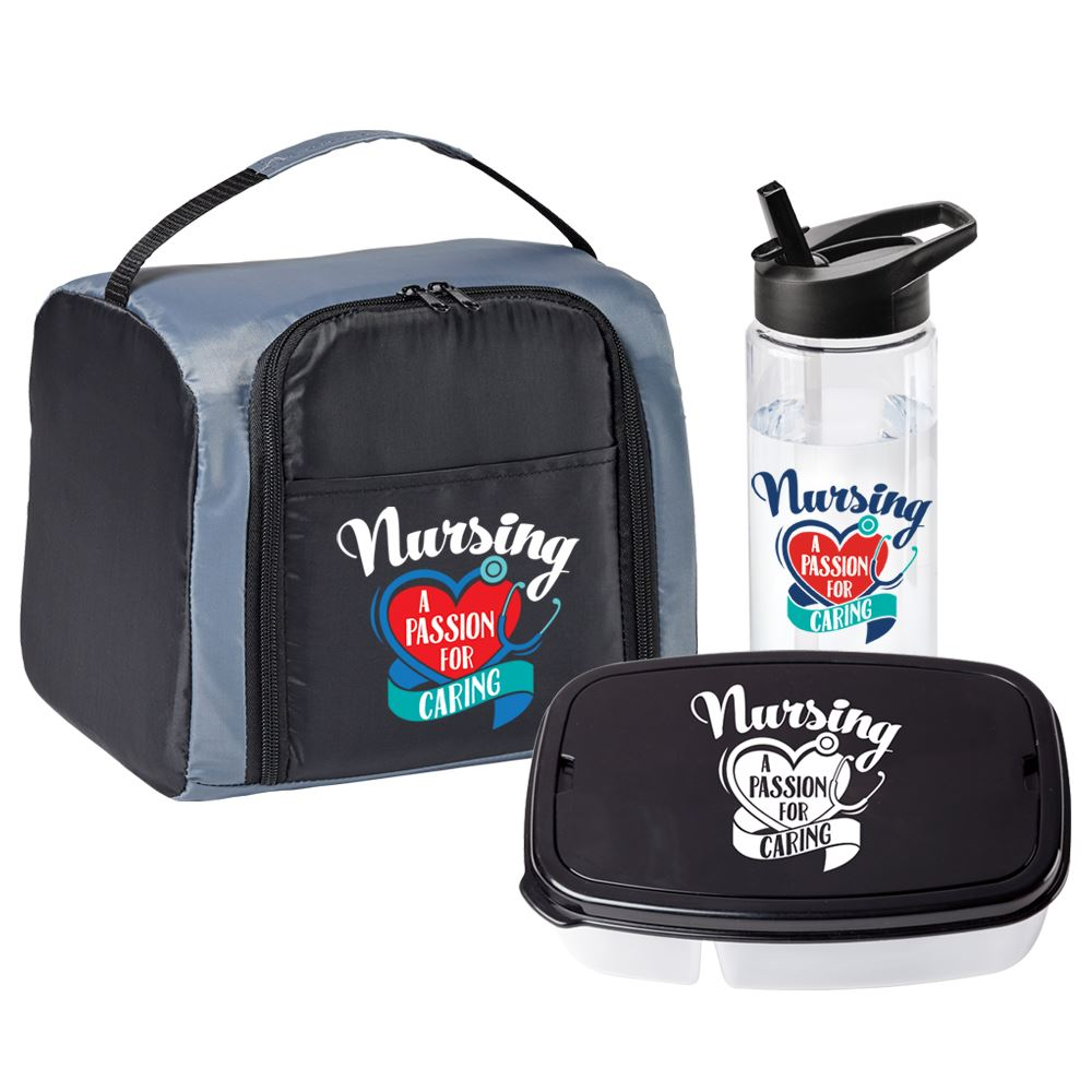 Nursing A Passion For Caring Springfield Lunch/Cooler Bag, Solara Water Bottle & 2-Section Food Container Gift Set