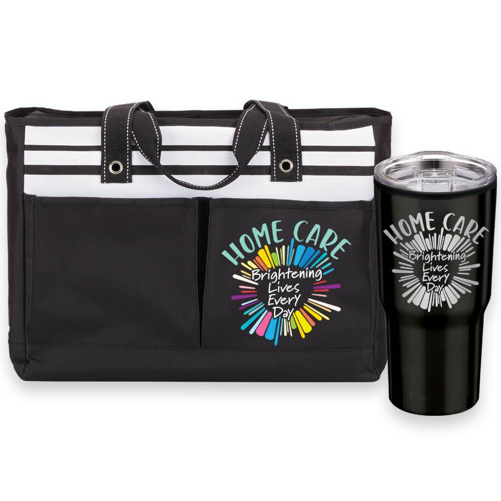 Home Care: Brightening Lives Every Day Traveler Two-Pocket Tote & Timber Tumbler Gift Combo