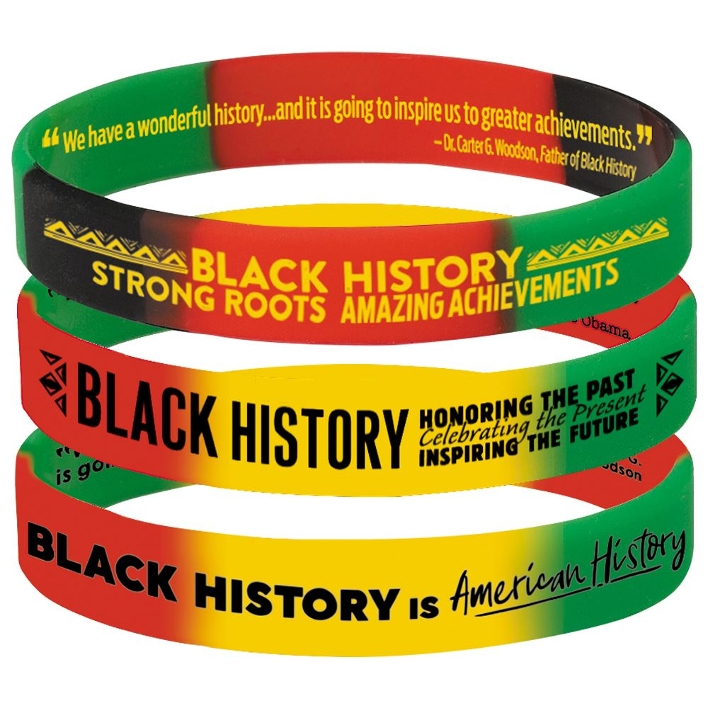 Black History 2-Sided Silicone Bracelet 30-Piece Assortment Pack