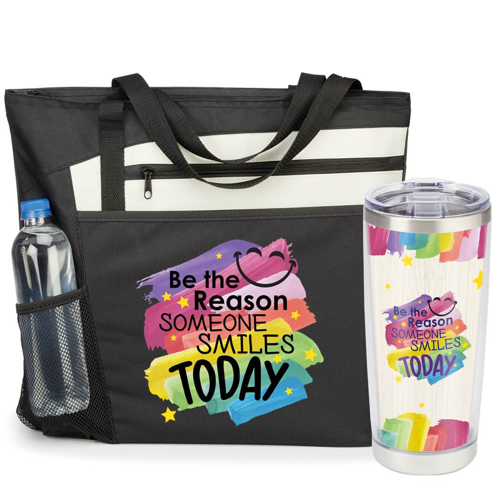 Be The Reason Someone Smiles Today Insulated Tumbler & Mercer Tote Gift Set