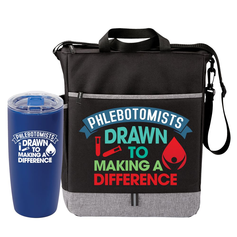 Phlebotomists Drawn To Making A Difference Tumbler & Tote Gift Set