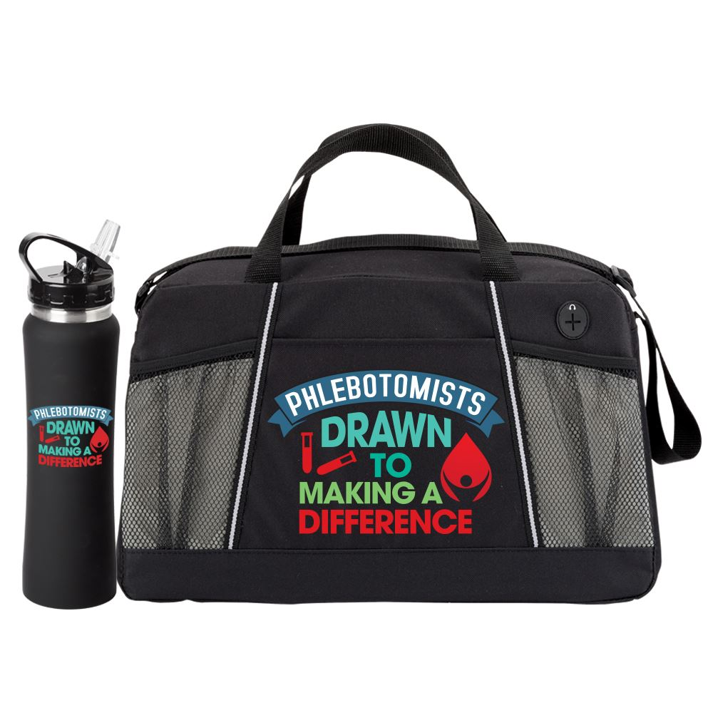 Phlebotomists: Drawn To Making A Difference Water Bottle & Duffel Gift Set