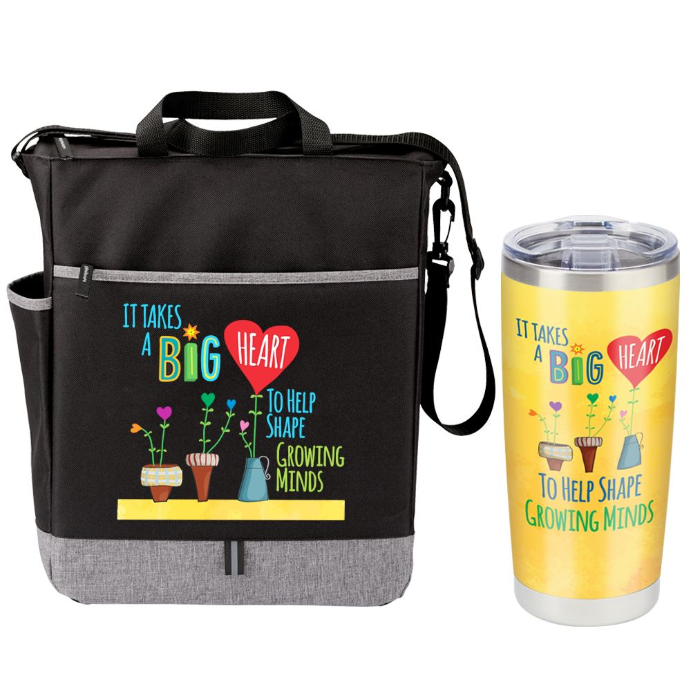 It Takes A Big Heart To Help Shape Growing Minds Fairfield Tote Bag & Full-Color Insulated Tumbler Combo Set