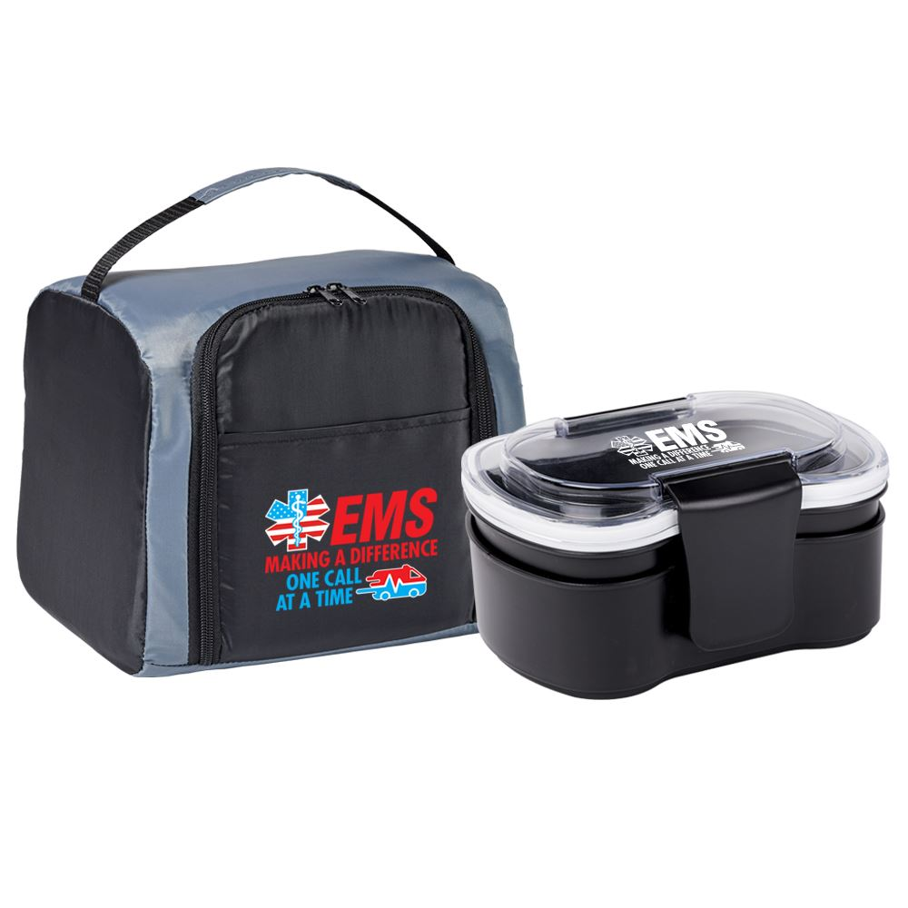 EMS Making A Difference One Call At A Time Springfield Lunch/Cooler Bag & 2-Tier Food Container Gift Set