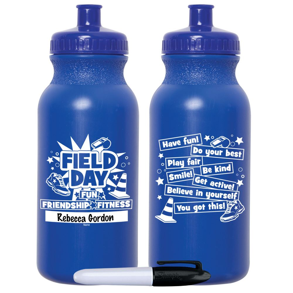 Field Day Fun, Friendship, Fitness Royal Blue Water Bottle 20-Oz With Permanent Marker - Pack of 10