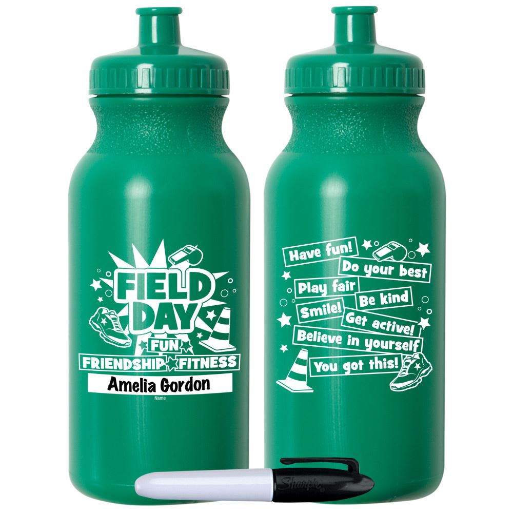 Field Day Fun, Friendship, Fitness Green Water Bottle 20-Oz. With Permanent Marker - Pack of 10