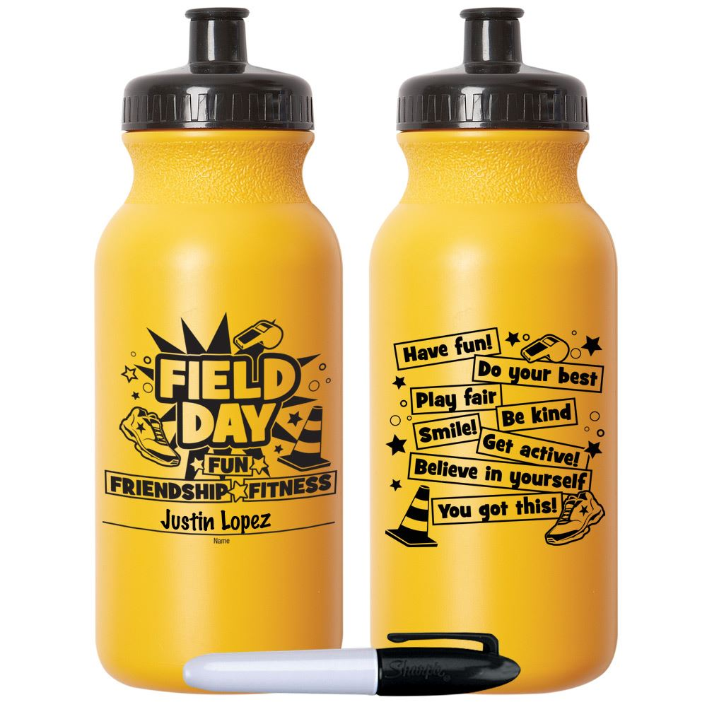 Field Day Fun, Friendship, Fitness Yellow Water Bottle 20-Oz. With Permanent Marker - Pack of 10