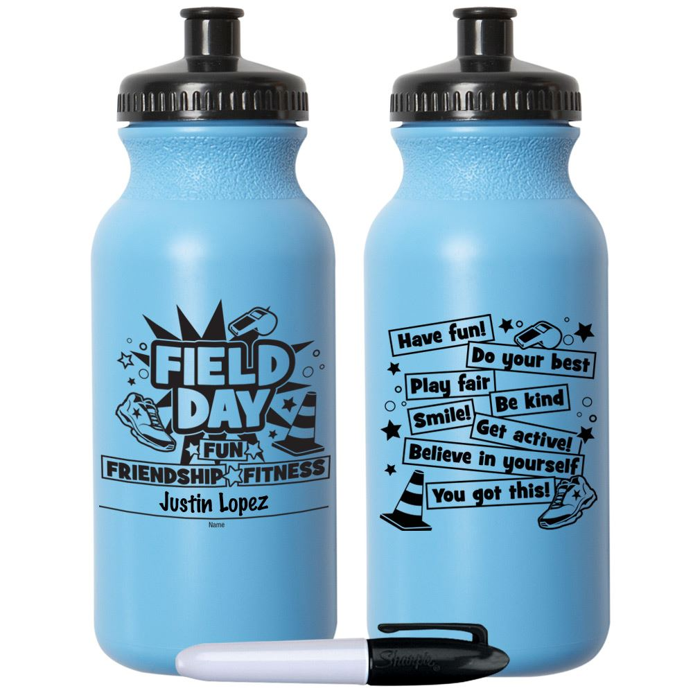 Field Day Fun, Friendship, Fitness Light Blue Water Bottle 20-Oz. With Permanent Marker - Pack of 10
