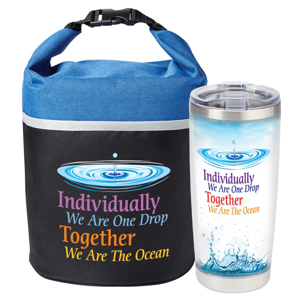 Individually We Are One Drop, Together We Are The Ocean Bellmore Cooler Lunch Bag & Insulated Tumbler Combo