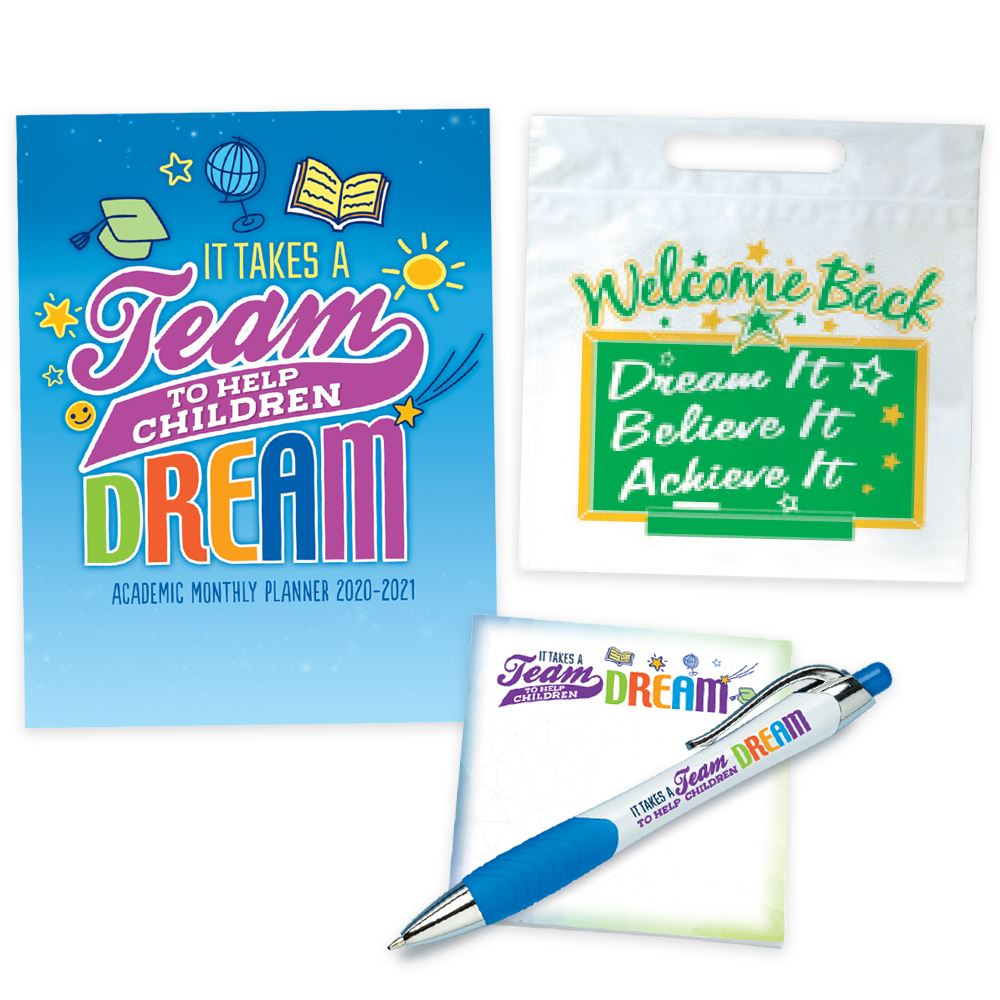 It Takes A Team To Help Children Dream Academic Monthly Planner, Sticky Pad & Pen, Goody Bag Supply Set