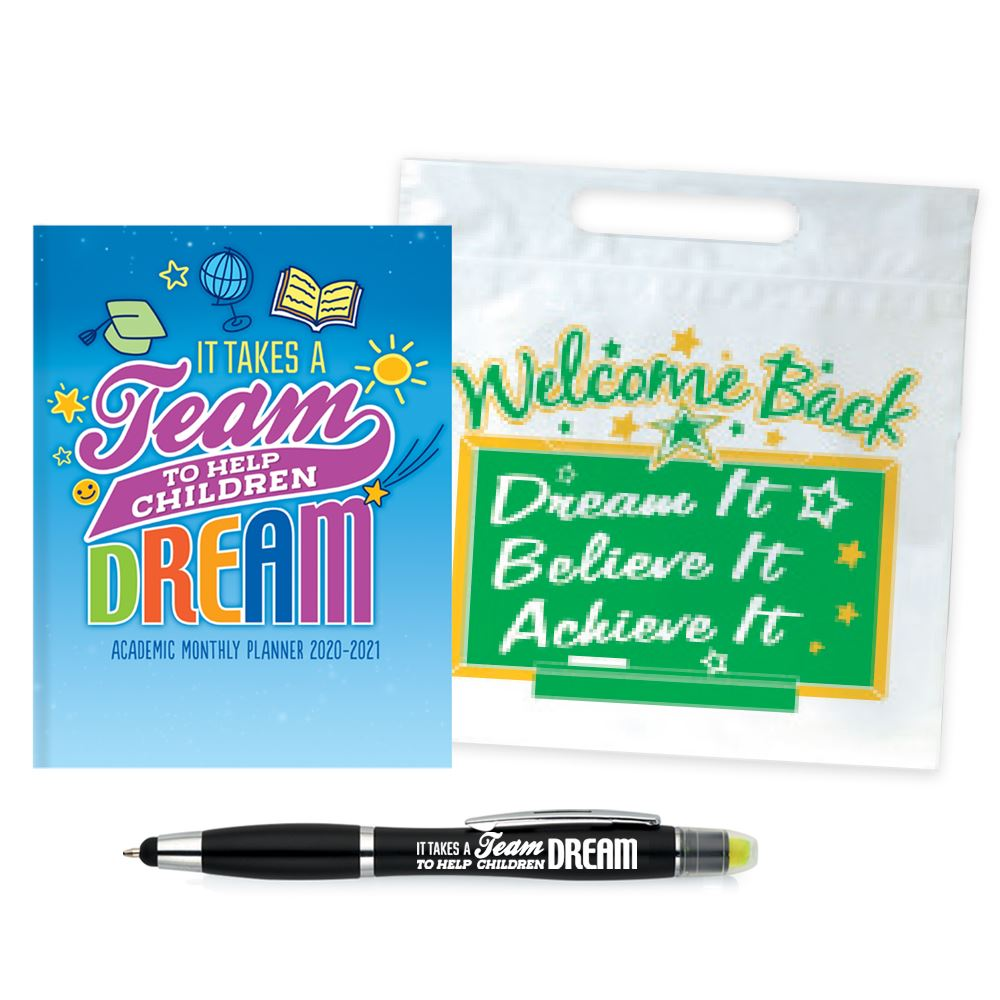 It Takes A Team To Help Children Dream Academic Monthly Desk Planner & Pen Supply Kit #1