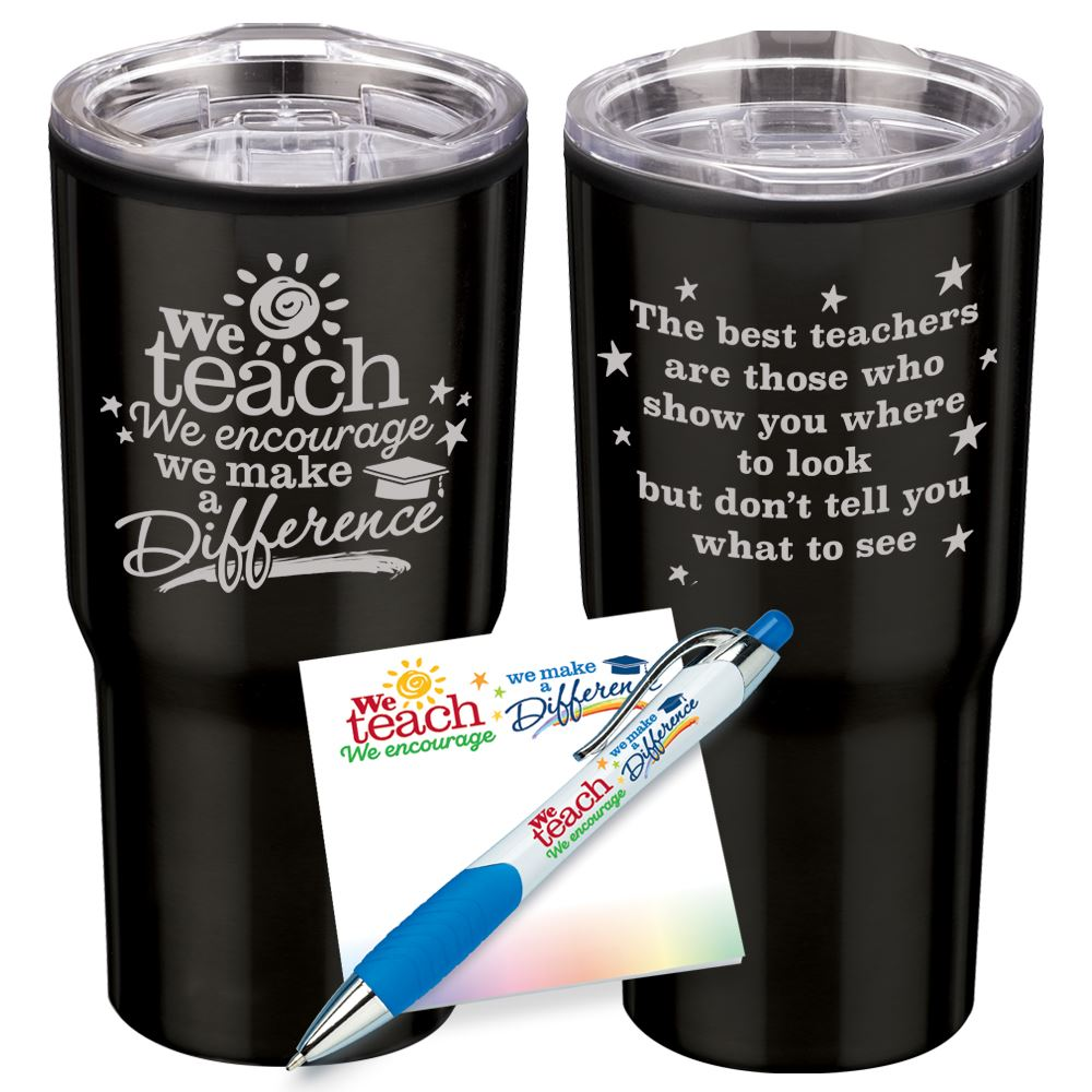 We Teach, We Encourage, We Make A Difference Tumbler, Sticky Pad & Pen Combo Sets