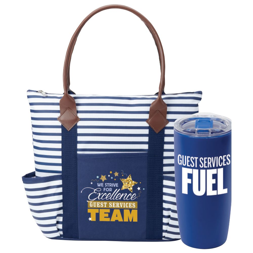 Guest Services Team: We Strive For Excellence Tote Bag & Insulated Tumbler Gift Set