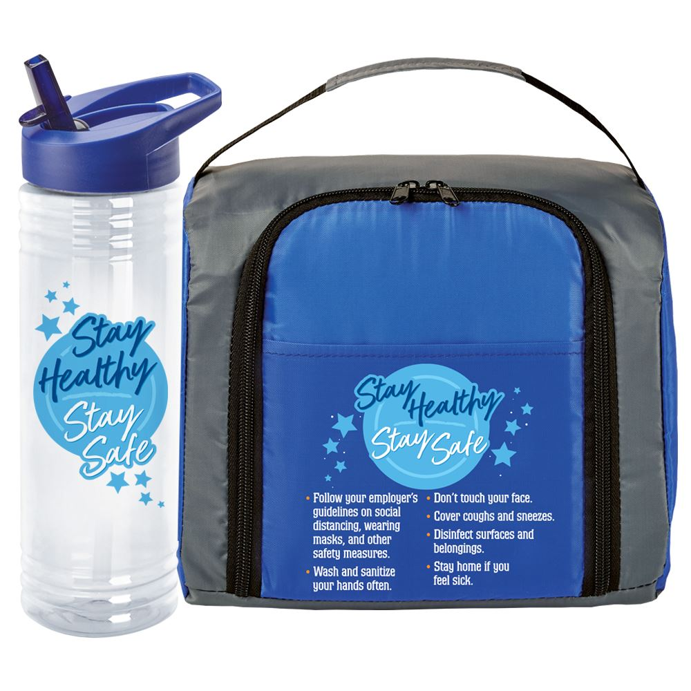 Stay Healthy & Stay Safe 2-Section Food Container & Solara Water Bottle Combo Pack